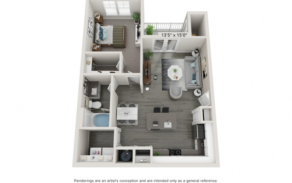 Adorn - 1 bedroom floorplan layout with 1 bath and 777 to 789 square feet.