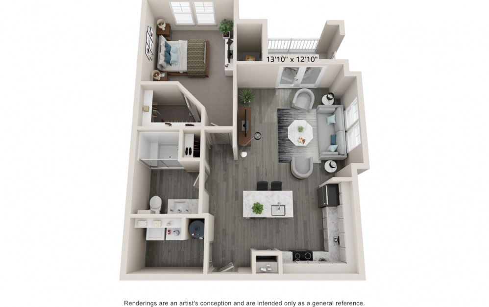 Align - 1 bedroom floorplan layout with 1 bath and 795 square feet.