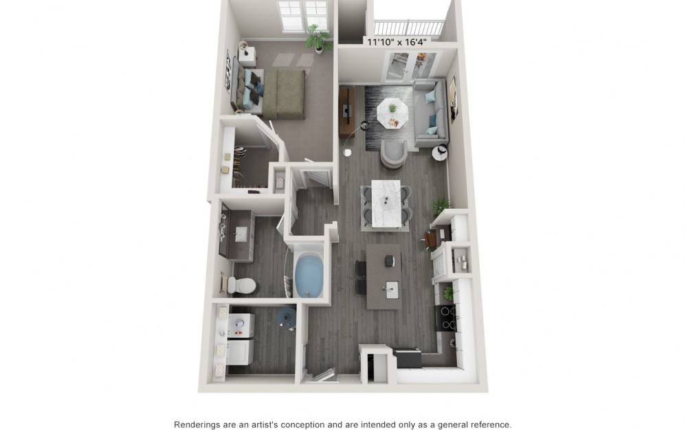 Allure - 1 bedroom floorplan layout with 1 bath and 841 square feet.