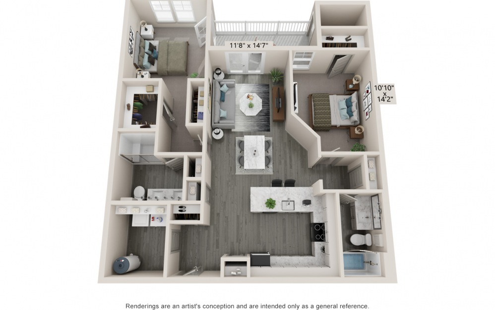 Balance - 2 bedroom floorplan layout with 2 baths and 1195 to 1207 square feet.
