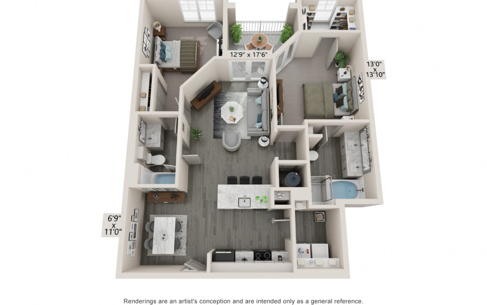 Breathe - 2 bedroom floorplan layout with 2 baths and 1148 to 1160 square feet.