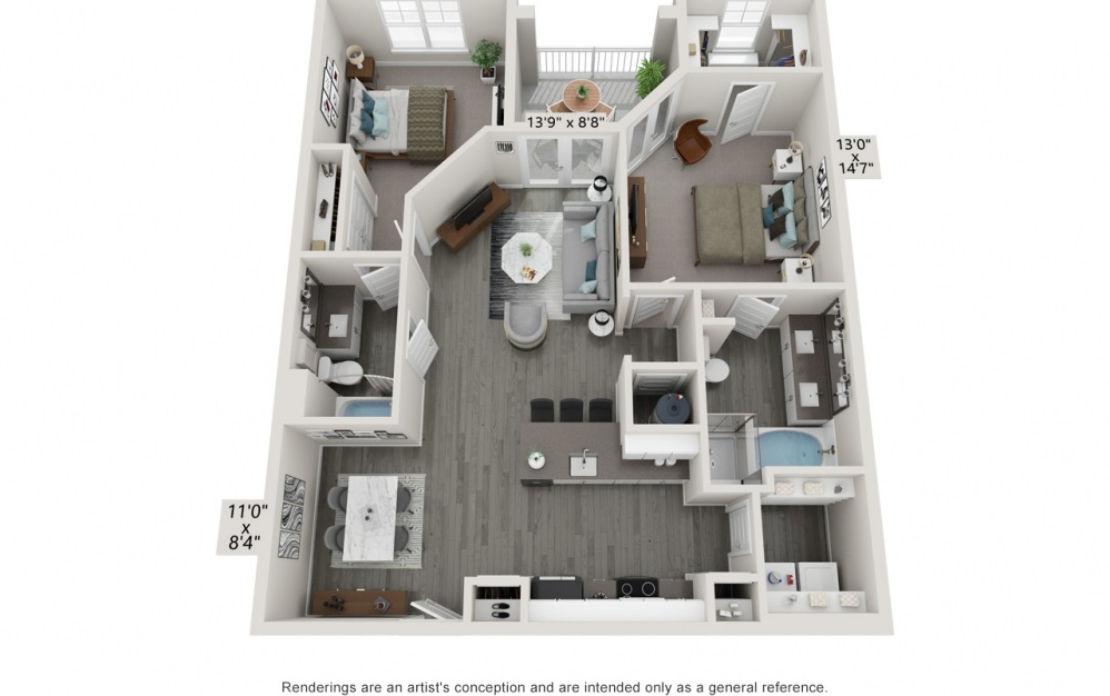 Bella - 2 bedroom floorplan layout with 2 baths and 1191 to 1204 square feet.
