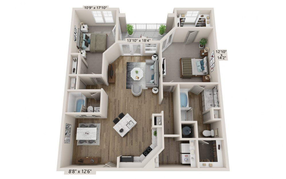Bliss floor plan at Hawthorne Waterstone apartment homes in Mooresville, NC