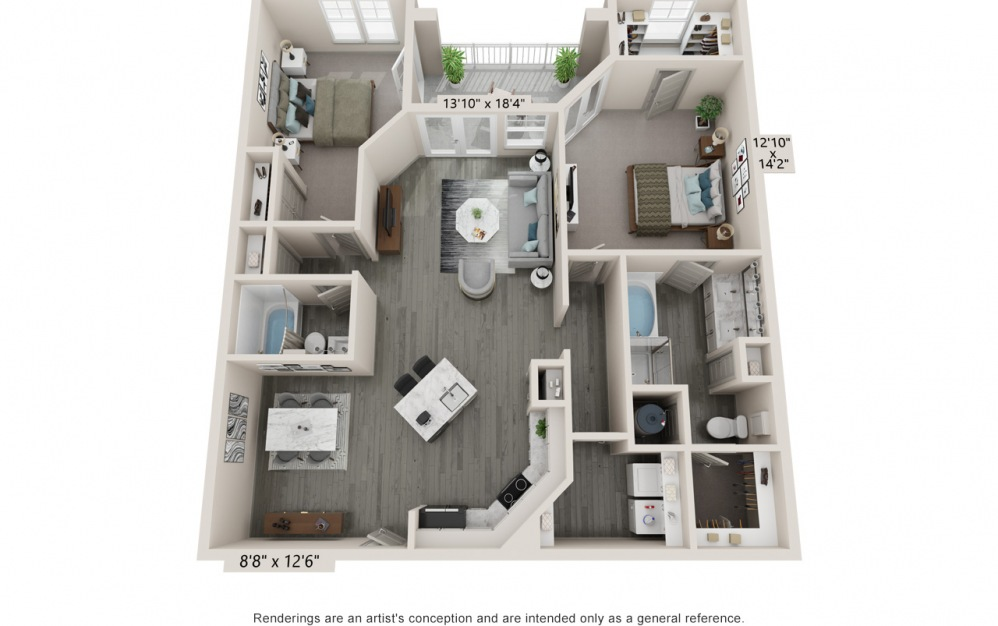 Bliss - 2 bedroom floorplan layout with 2 baths and 1329 square feet.