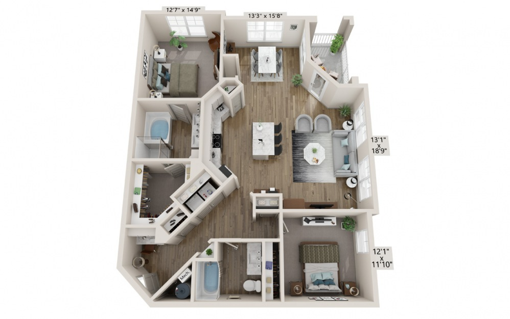Brooke floor plan at Hawthorne Waterstone apartment homes in Mooresville, NC