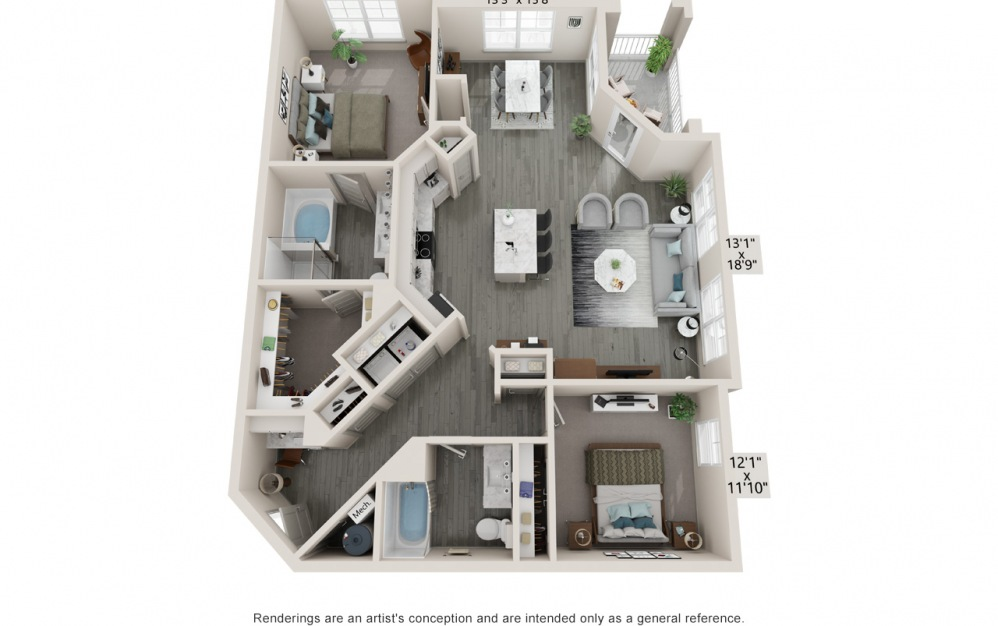 Brooke - 2 bedroom floorplan layout with 2 baths and 1347 square feet.