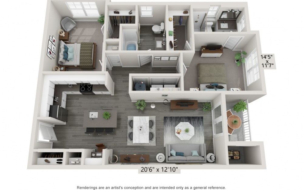 Brisk - 2 bedroom floorplan layout with 2 baths and 1099 square feet.