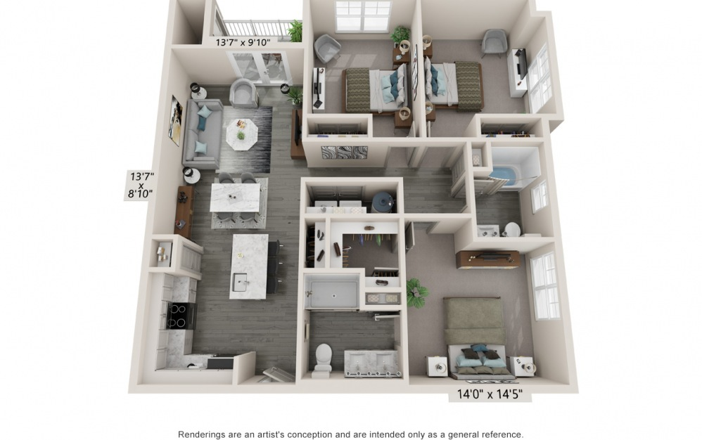 Crest - 3 bedroom floorplan layout with 2 baths and 1315 square feet.